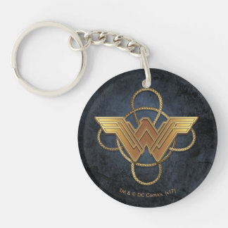 Wonder Woman Gold Symbol Over Lasso Keychain
