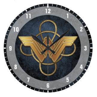 Wonder Woman Gold Symbol Over Lasso Large Clock