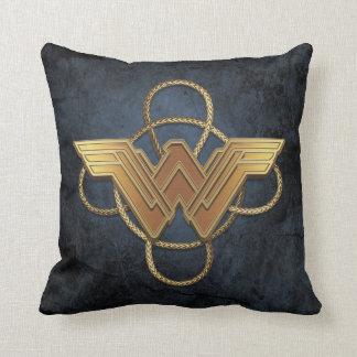 Wonder Woman Gold Symbol Over Lasso Throw Pillow