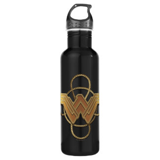 Wonder Woman Gold Symbol Over Lasso Water Bottle