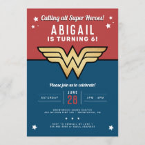 Wonder Woman Golden Logo Birthday Invitation