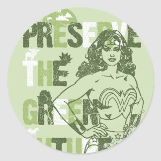 Wonder Woman Green Future Classic Round Sticker