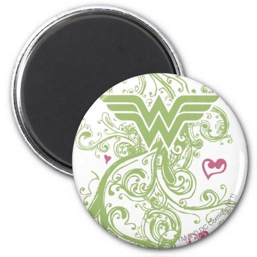 Wonder Woman Green Swirls Logo 2 Inch Round Magnet
