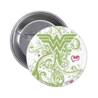 Wonder Woman Green Swirls Logo Pinback Button