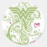 Wonder Woman Green Swirls Logo Classic Round Sticker