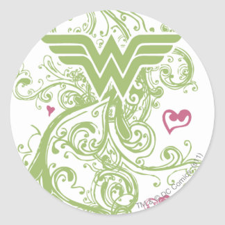 Wonder Woman Green Swirls Logo Classic Round Sticker