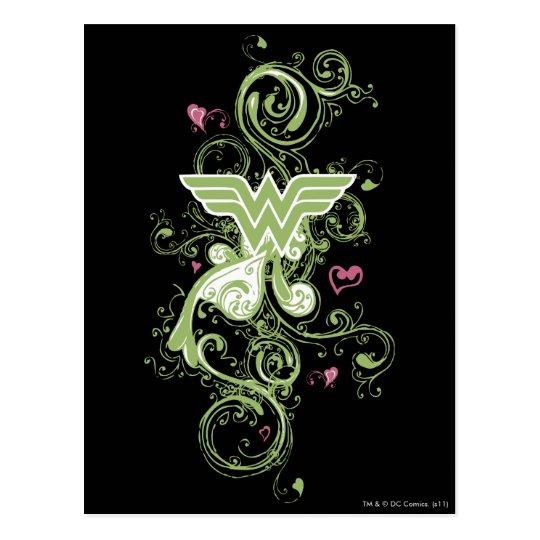 Wonder Woman Green Swirls Logo Postcard