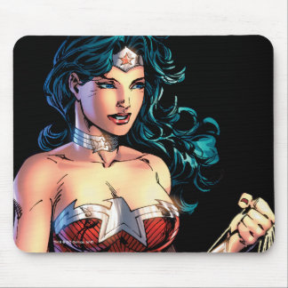 Wonder Woman Gripping Lasso Atop Rock Mouse Pad