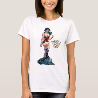 Wonder Woman Gripping Lasso Atop Rock T-Shirt
