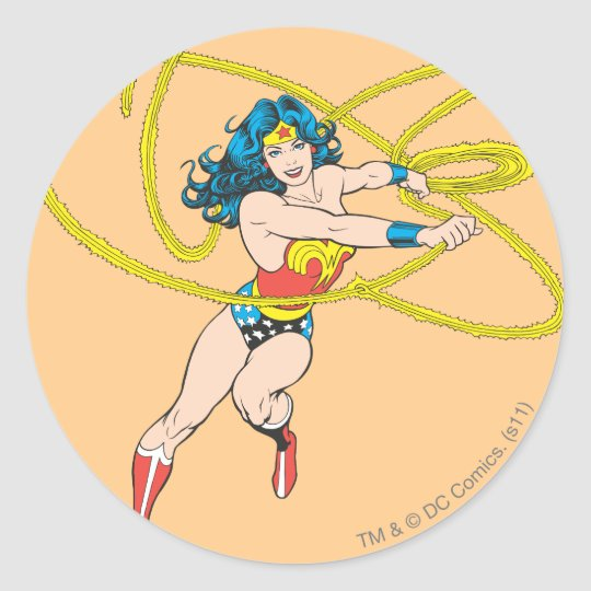 Wonder Woman Holds Lasso 1 Classic Round Sticker