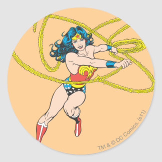 Wonder Woman Holds Lasso 1 Round Stickers