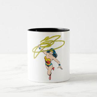 Wonder Woman Holds Lasso 2 Two-Tone Coffee Mug