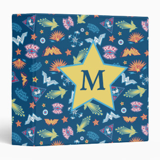 Wonder Woman Icons & Phrases Pattern | Monogram 3 Ring Binder