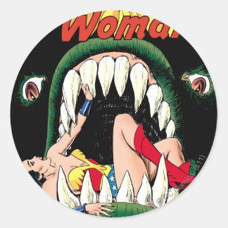 Wonder Woman Jaws Classic Round Sticker