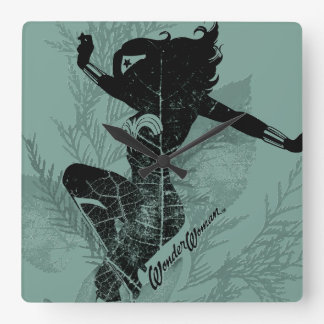 Wonder Woman Landing Foliage Graphic Square Wall Clock