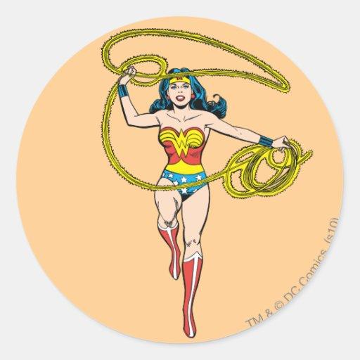 Wonder Woman Lasso over Head Classic Round Sticker