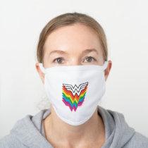 Wonder Woman Layered Rainbow Logo White Cotton Face Mask