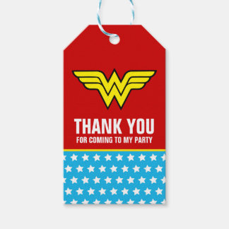 Wonder Woman Logo | Birthday Thank You Gift Tags