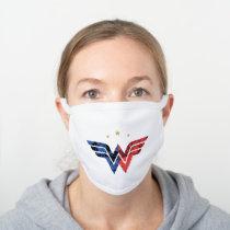 Wonder Woman Modern & Retro Comic Overlay Logo White Cotton Face Mask