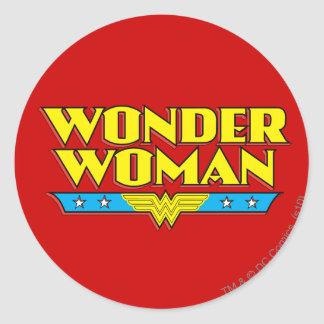 Wonder Woman Name and Logo Classic Round Sticker