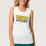 Wonder Woman Name and Logo Flowy Muscle Tank Top