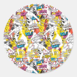 Wonder Woman Neon Pattern Classic Round Sticker
