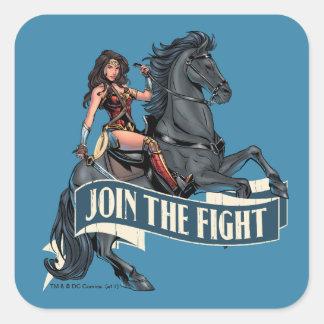 Wonder Woman on Horse Comic Art Square Sticker