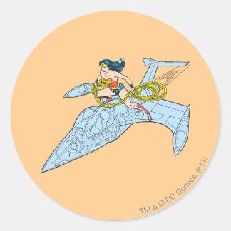 Wonder Woman on Spaceship Classic Round Sticker