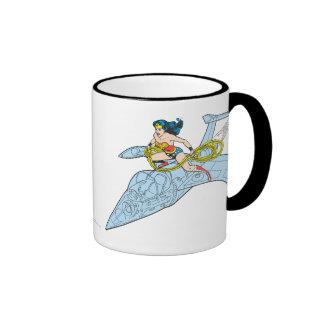 Wonder Woman on Spaceship Coffee Mugs