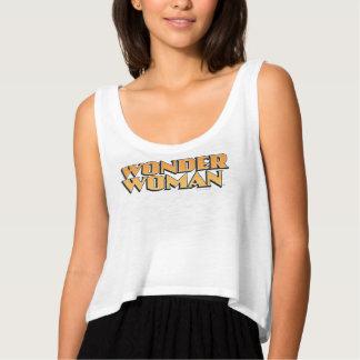 Wonder Woman Orange Logo Flowy Crop Tank Top