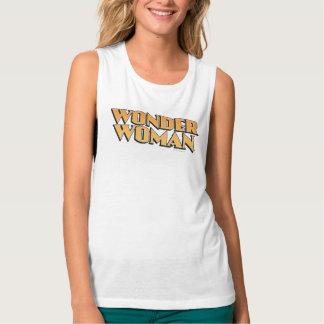 Wonder Woman Orange Logo Flowy Muscle Tank Top