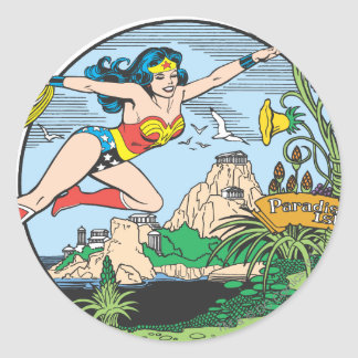 Wonder Woman Paradise Island Classic Round Sticker