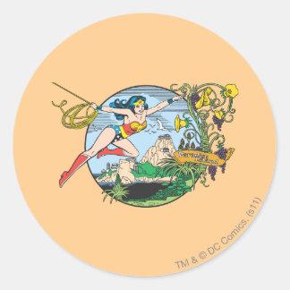 Wonder Woman Paradise Island Classic Round Sticker