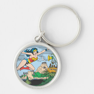 Wonder Woman Paradise Island Silver-Colored Round Keychain