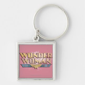 Wonder Woman Pencil Logo Silver-Colored Square Keychain