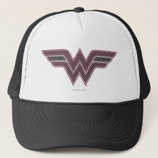 Wonder Woman Pink and Black Checker Mesh Logo Trucker Hat