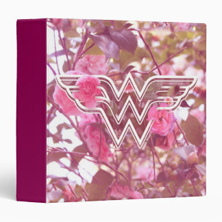 Wonder Woman Pink Camellia Flowers Logo 3 Ring Binder