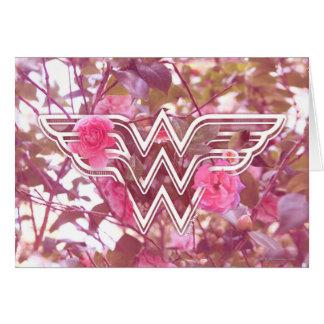 Wonder Woman Pink Camellia Flowers Logo Card