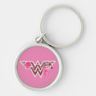 Wonder Woman Pink Camellia Flowers Logo Keychain