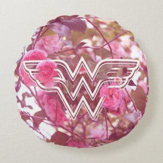 Wonder Woman Pink Camellia Flowers Logo Round Pillow