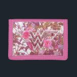 "Wonder Woman Pink Camellia Flowers Logo Tri-fold Wallet<br><div class=""desc"">The classic Wonder Woman logo amongst pink camillia flowers.</div>"