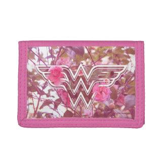 Wonder Woman Pink Camellia Flowers Logo Tri-fold Wallet