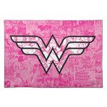Wonder Woman Pink Comic Book Collage Logo Cloth Placemat