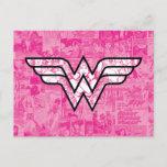 Wonder Woman Pink Comic Book Collage Logo Invitation Postcard
