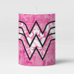 Wonder Woman Pink Comic Book Collage Logo Pillar Candle