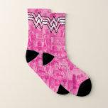 Wonder Woman Pink Comic Book Collage Logo Socks