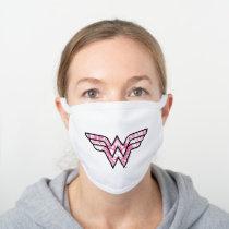 Wonder Woman Pink Comic Book Collage Logo White Cotton Face Mask