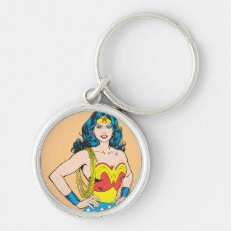 Wonder Woman Portrait Silver-Colored Round Keychain