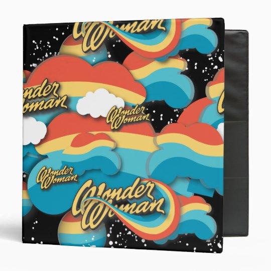 Wonder Woman Rainbow Clouds Pattern 3 Ring Binder