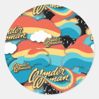 Wonder Woman Rainbow Clouds Pattern Classic Round Sticker